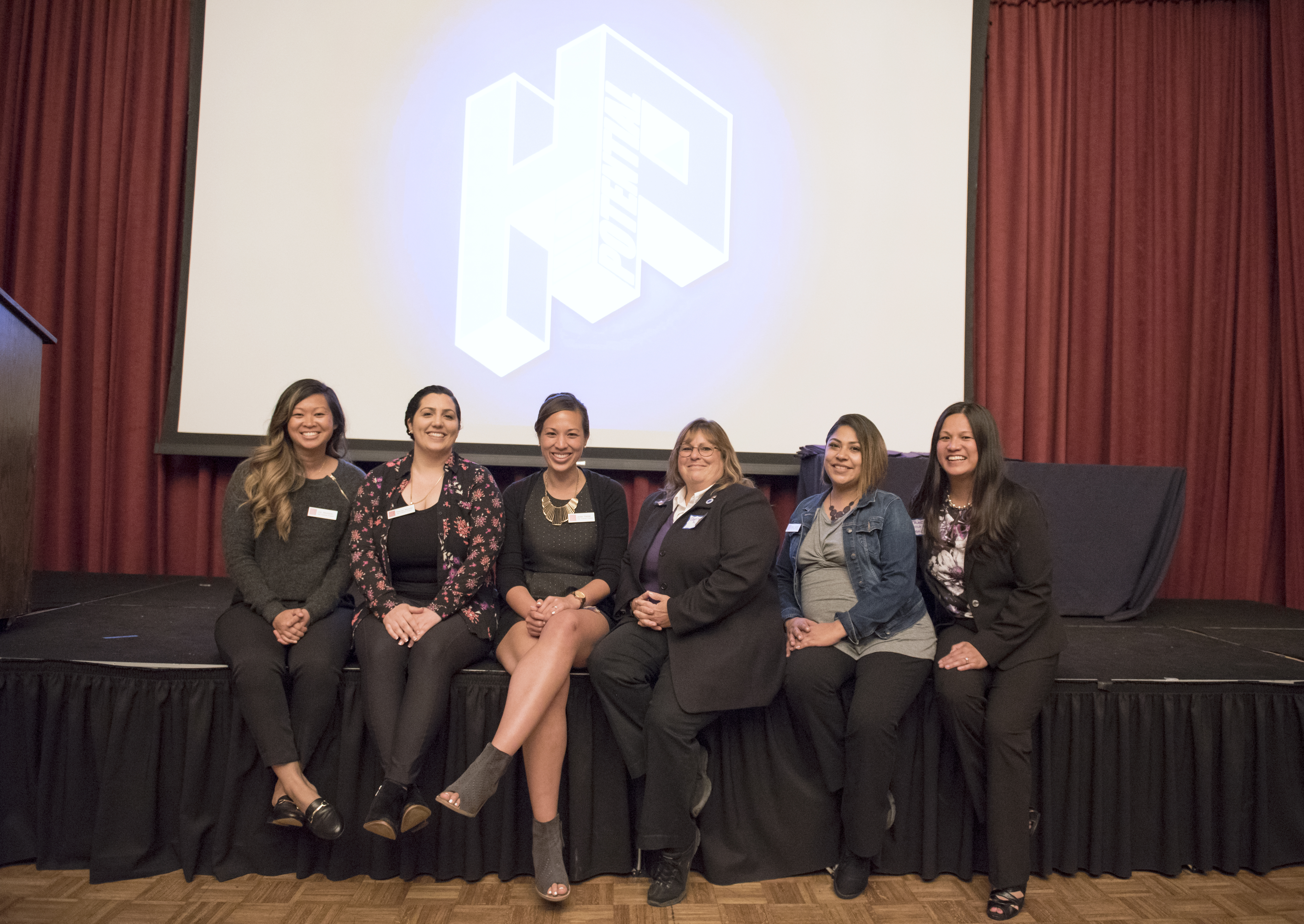 The High Potential Program Team (from left): HP Coach/Graduate Intern Joy Aburquez; HP Coach/Peer Mentor Coordinator Sharzad Mozaffar; Director, HP and TRIO Student Support Services Jenee Palmer;  Chief Diversity Officer, Faculty Co-Director, HP, Department Chair, Counseling Department Gloria Aquino Sosa, PhD;  HP Coach/Graduate Intern Nancy Aguilar;  Assistant Vice Provost for Student Success Tracy Pascua Dea, PhD.