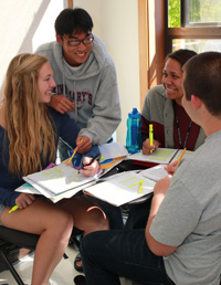 Students compare experiences at the 2012 High Potential Summer Bridge Program