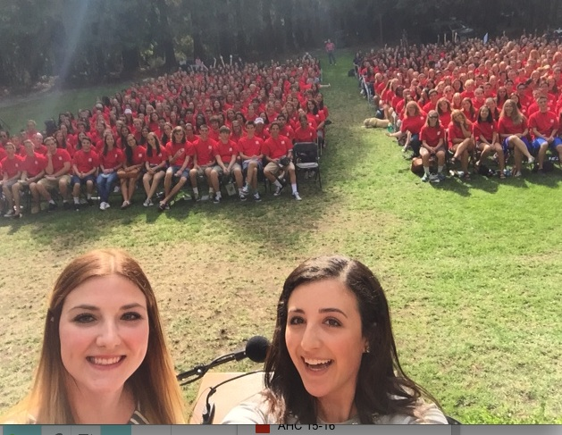 "Academic Honor Council Co-Chairs, Callie Coker (left) and Jenna Khoury (right) ""seal it with a selfie"" after Class of 2019 took Honor Code Pledge together at New Student Convocation on Friday August 28, 2015 in the Redwood Grove."