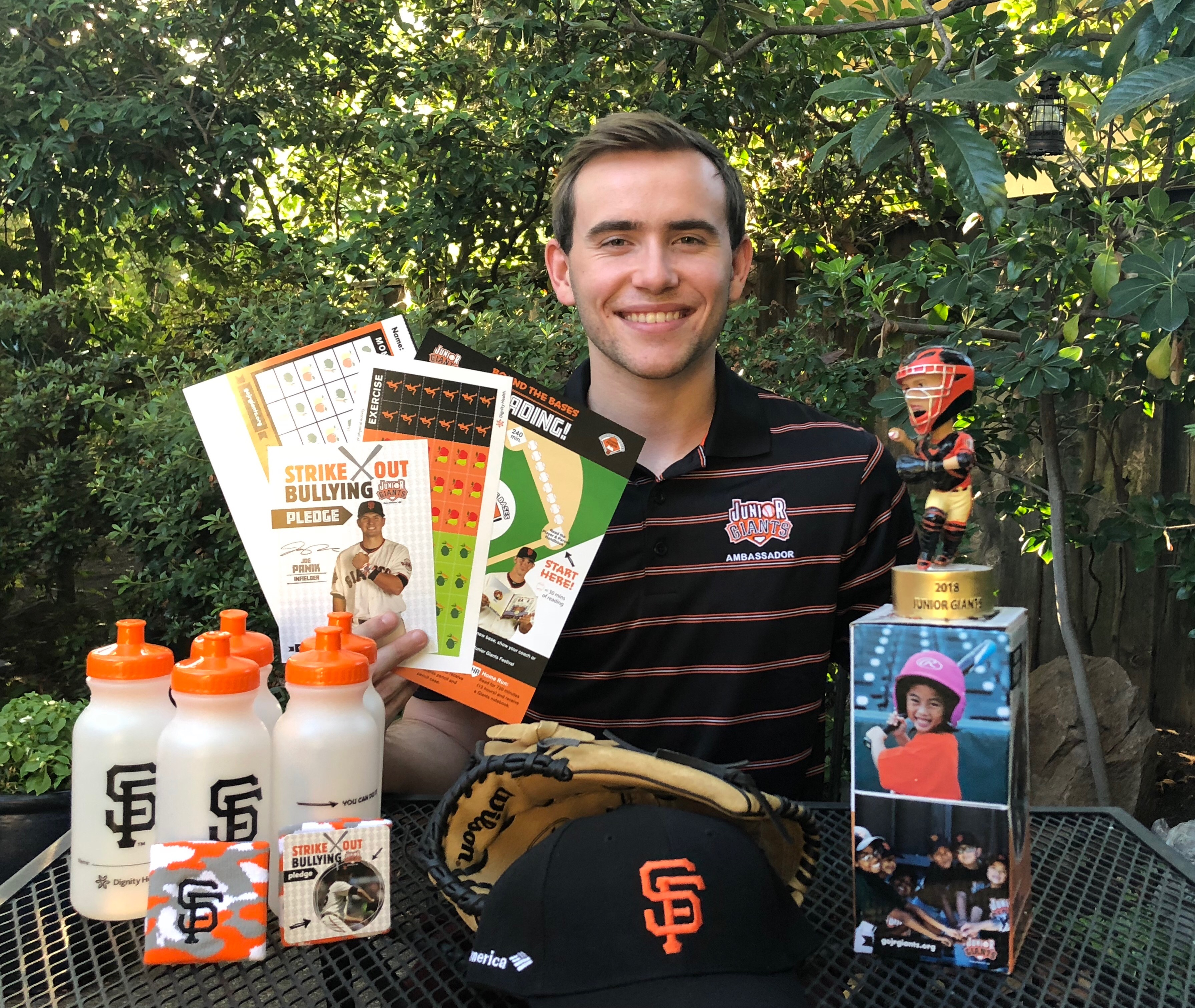Eric Chapman holding sf Giants swag