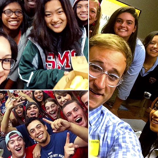 Collage of students and staff from Instagram photos.
