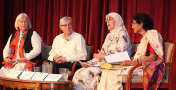 Panelists included (left to right) Dianne Muller, Ken Maki, Ameena Jandali, and Dr. Sulochina Lulla