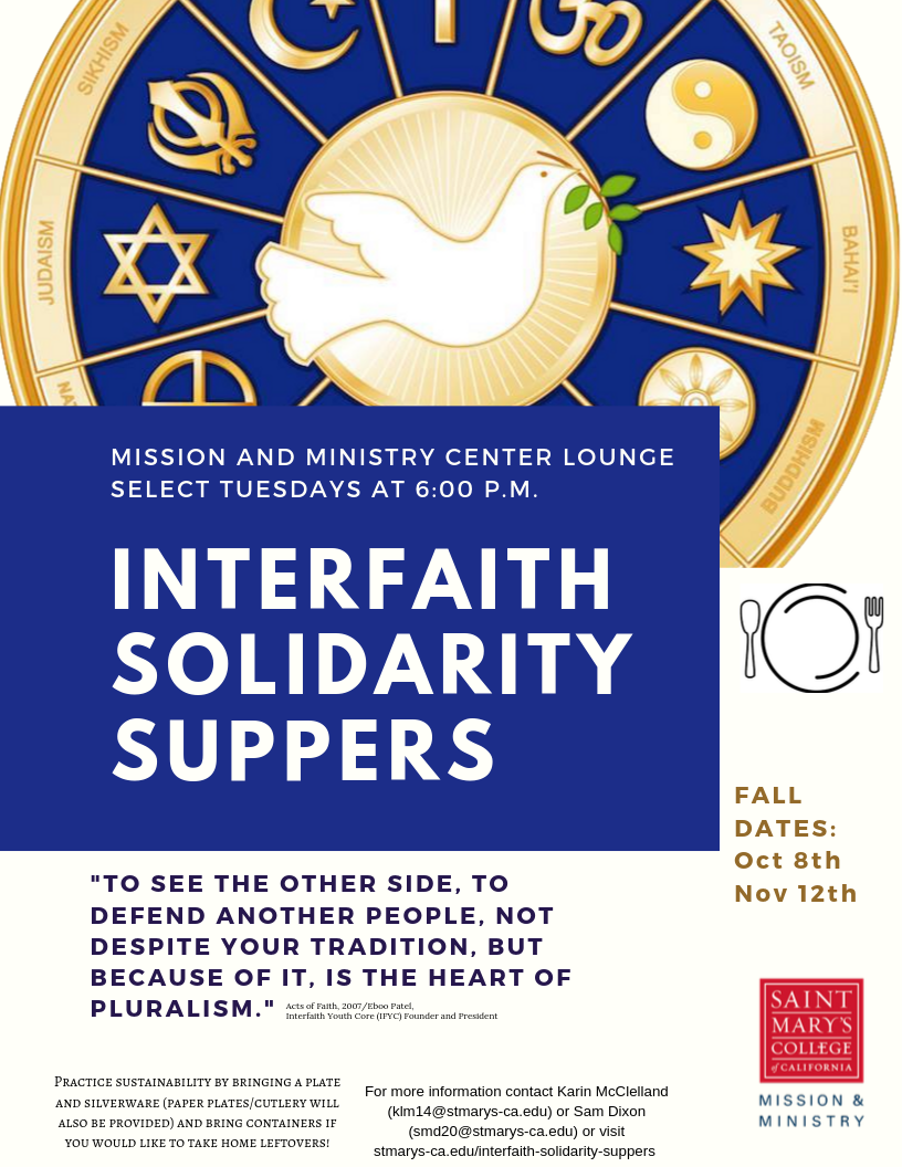 Interfaith Solidarity Suppers, Oct. 8 and Nov. 12, 2019
