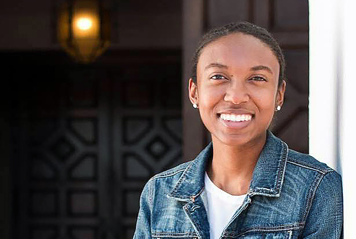 """Jada Walker '18, who grew up near Sacramento, modestly shakes off congratulations over her successes in the field of science at Saint Mary's. """"I'm just extremely grateful for opportunities that not many people get, unfortunately,"""" she said."""