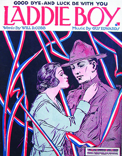 Laddie Boy (Good-Bye and Luck Be with You), 1917. Cover illustration by: Edgar Keller. Words by: Will D. Cobb. Music by: Gus Edwards. Published