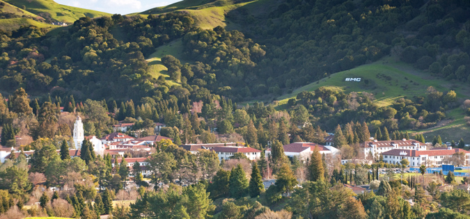 Landscape photo of Saint Mary's campus from surrounding hills.