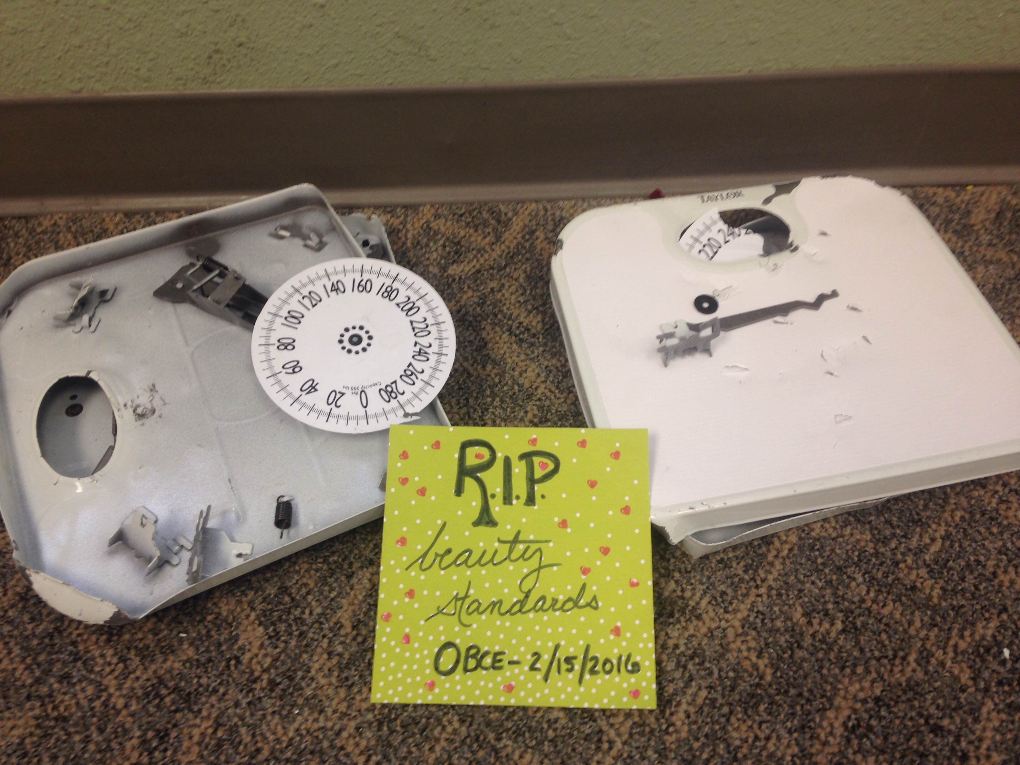 The aftermath of our scale smash! This was an event in Love Your Body Week, co-hosted by SMC Patch.