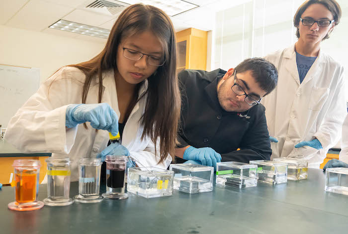 Students in the  Mentored Access to Programs in Science (MAPS) initiative conduct a chemistry experiment in a lab.