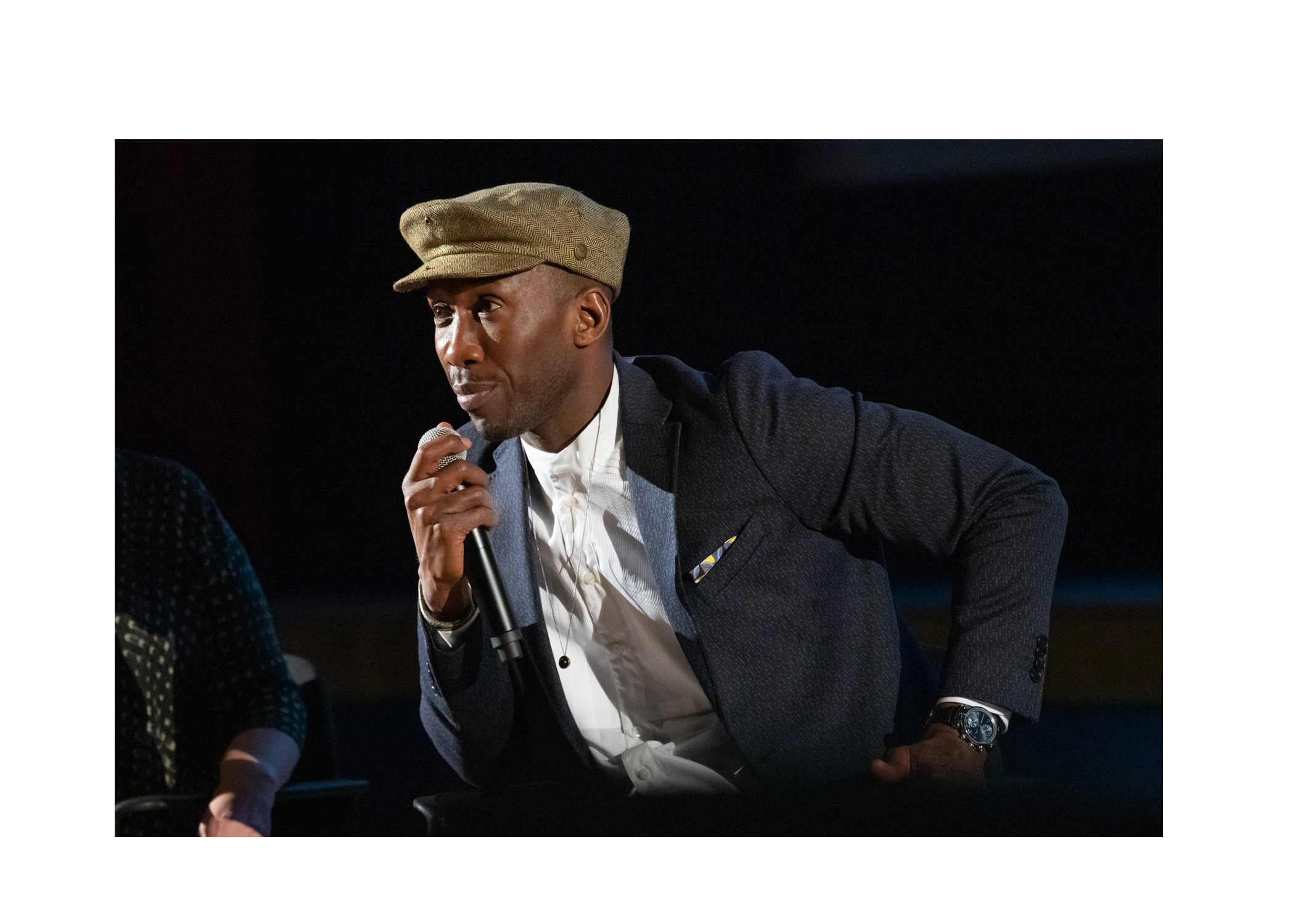 Oscar Winner Mahershala Ali '96 talks about the film Green Book at a special advance showing to benefit the High Potential Program at the Rheem Theater in Oct. 2018.