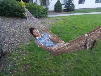Just chilling! - We have a hammock in our back yard!