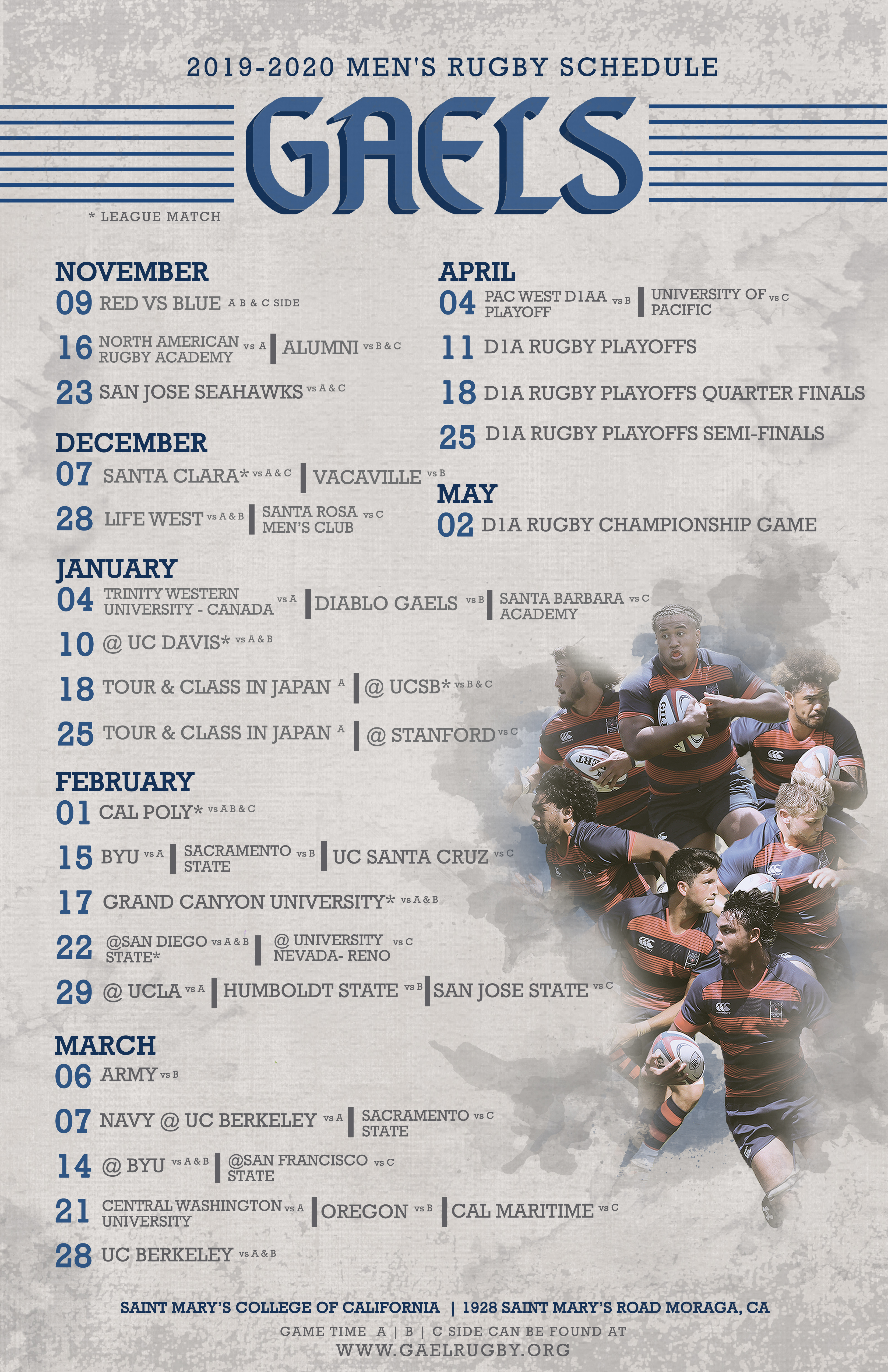 Uc Berkeley Fall 2020 Final Schedule.2019 2020 Rugby Schedule Saint Mary S College