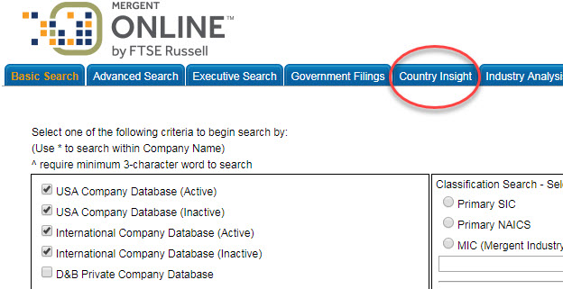 screen capture of Country Insight tab on Mergent Online database