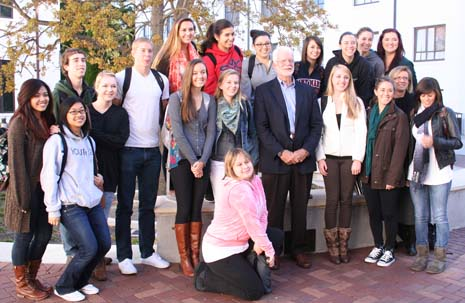 "Miller with Prof. Monica Fitzgerald's ""Culture and Civic Responsibility"" class."
