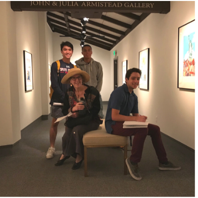 Naomi Schwartz with students in the SMCMoA, Fall 2018.