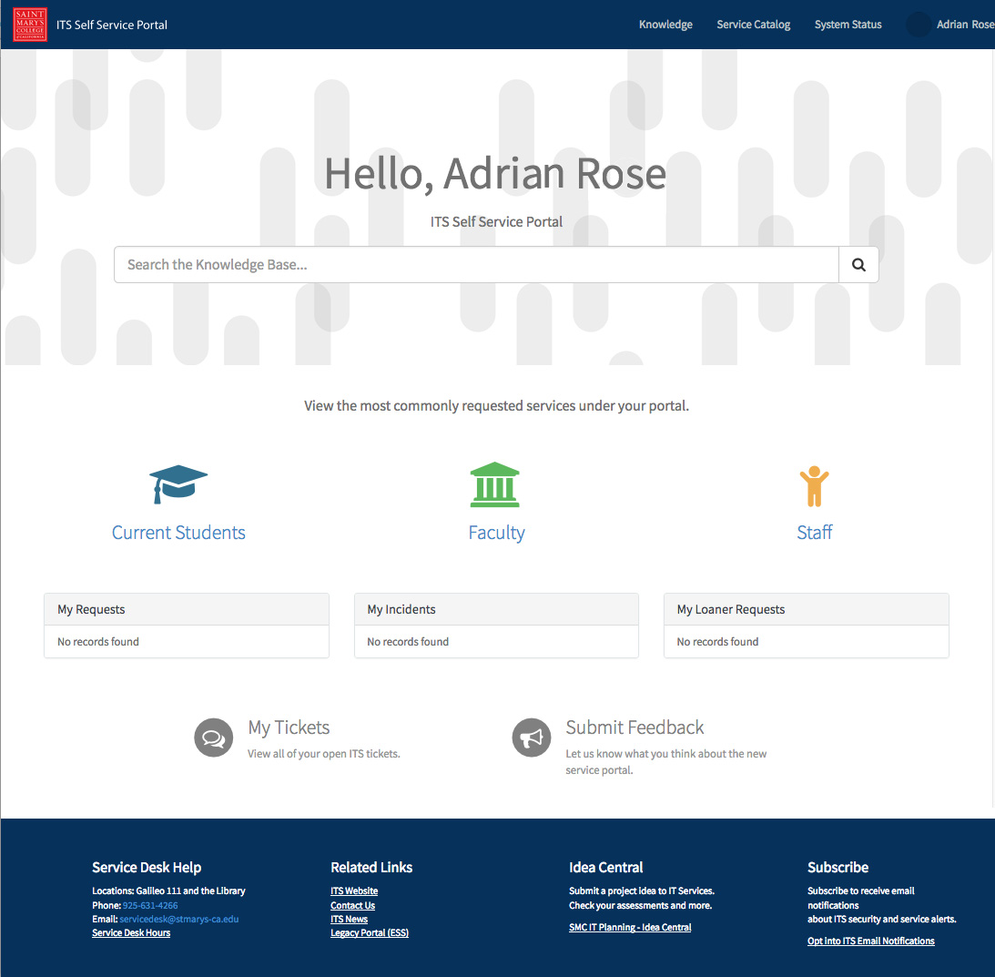 New ITS Self-Service Portal