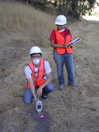 Student records background measurements at field site adjacent to Highway 24 (Fall 2004).