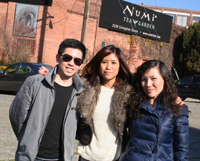 Students gather outside the Numi Tea headquarters in Oakland.