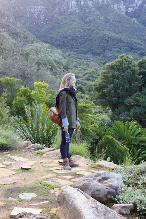 Olivia Ramsay stands at the end of Africa to see the Atlantic Ocean meeting the Indian Ocean.