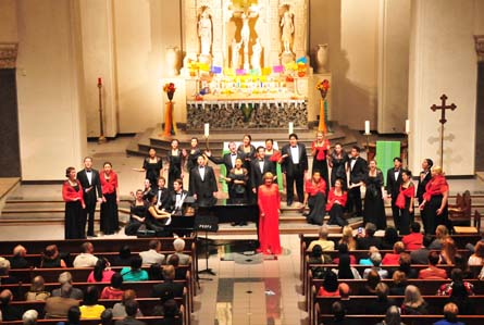 Frederica von Stade singing with the Saint Mary's College Chamber Singers.