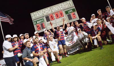 SMC Gaels Rugby celebrate winning their first national title.