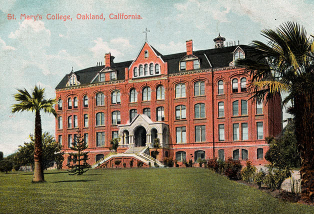 """The Brickpile,"" shown in this postcard of Saint Mary's Oakland campus, was plagued by an earthquake and two devastating fires."