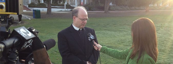 Brother Charles Hilken being interviewed by KTVU