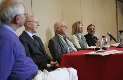 Father Mike Russo, Dean Steve Woolper, Prof. Steven Sloane, Prof. Monica Fitzgerald, and Tim Farley