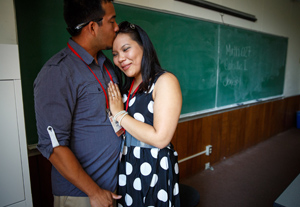 Zach Farmer and Linda Hua, class of 2008, moments after he proposed to her during reunion.
