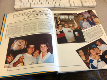"Photos of ""The Pub"" in a Saint Mary's yearbook show students kicking back at the Mission Road Inn."