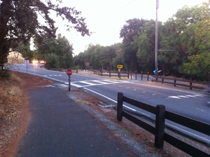 Curious isn't it? Here, trail was once the Sacramento Northern rail line, and the crosswalk the grade crossing.