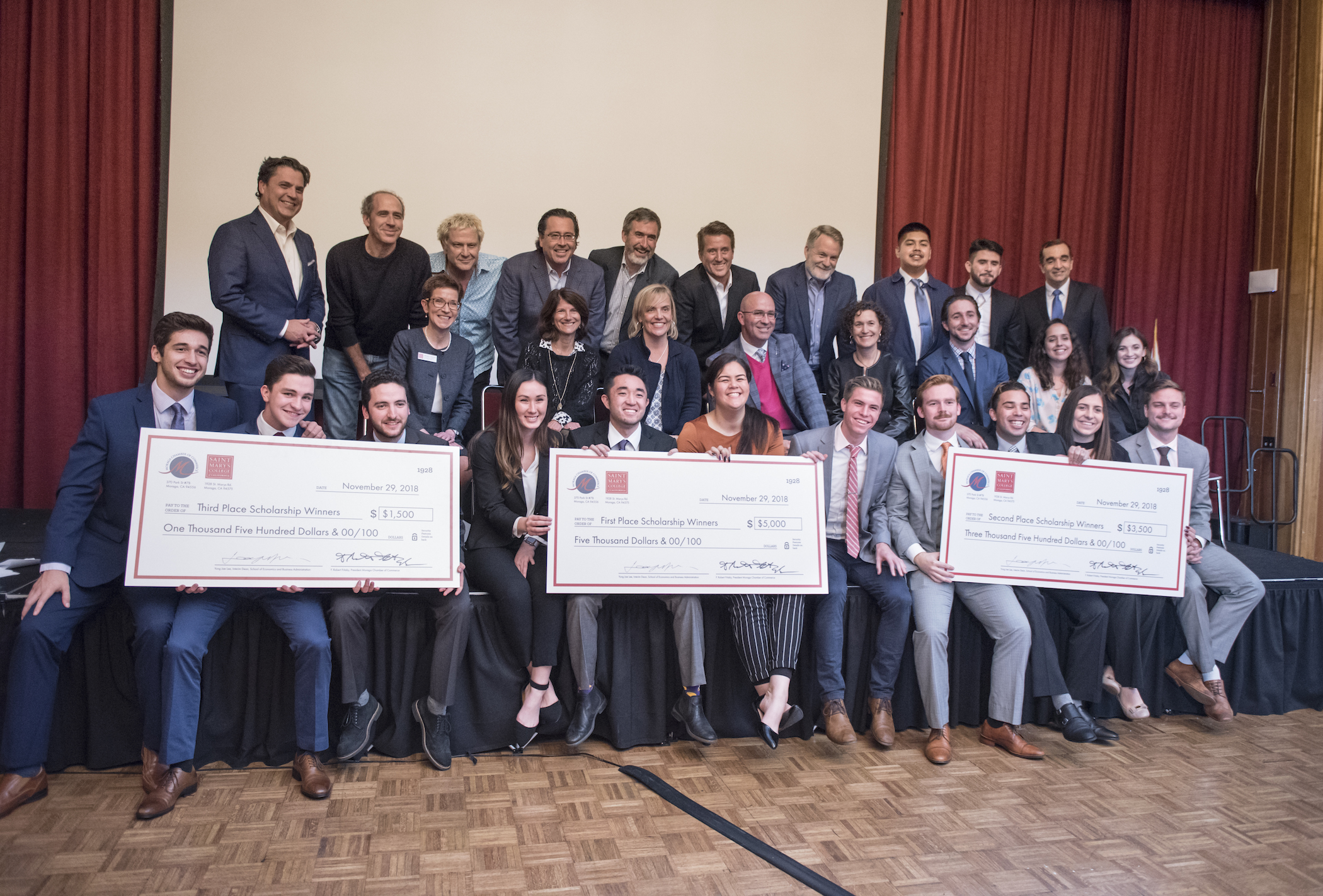 Winning teams pose at the Rheem Theater Case Study Competition
