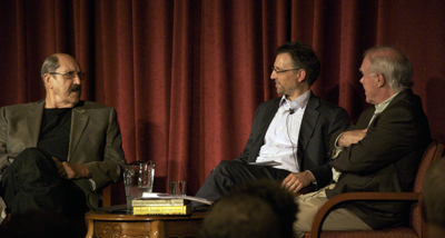Tom Meschery (left) speaks with Chris Sindt and Robert Hass (right).