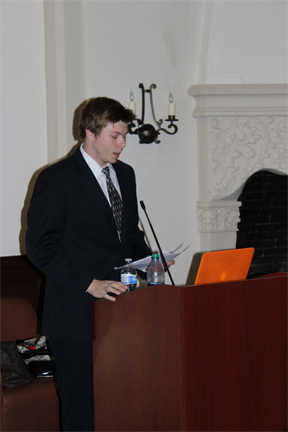 Current Enactus President Ryan Summers addressing the crowd at their launch event April 10th