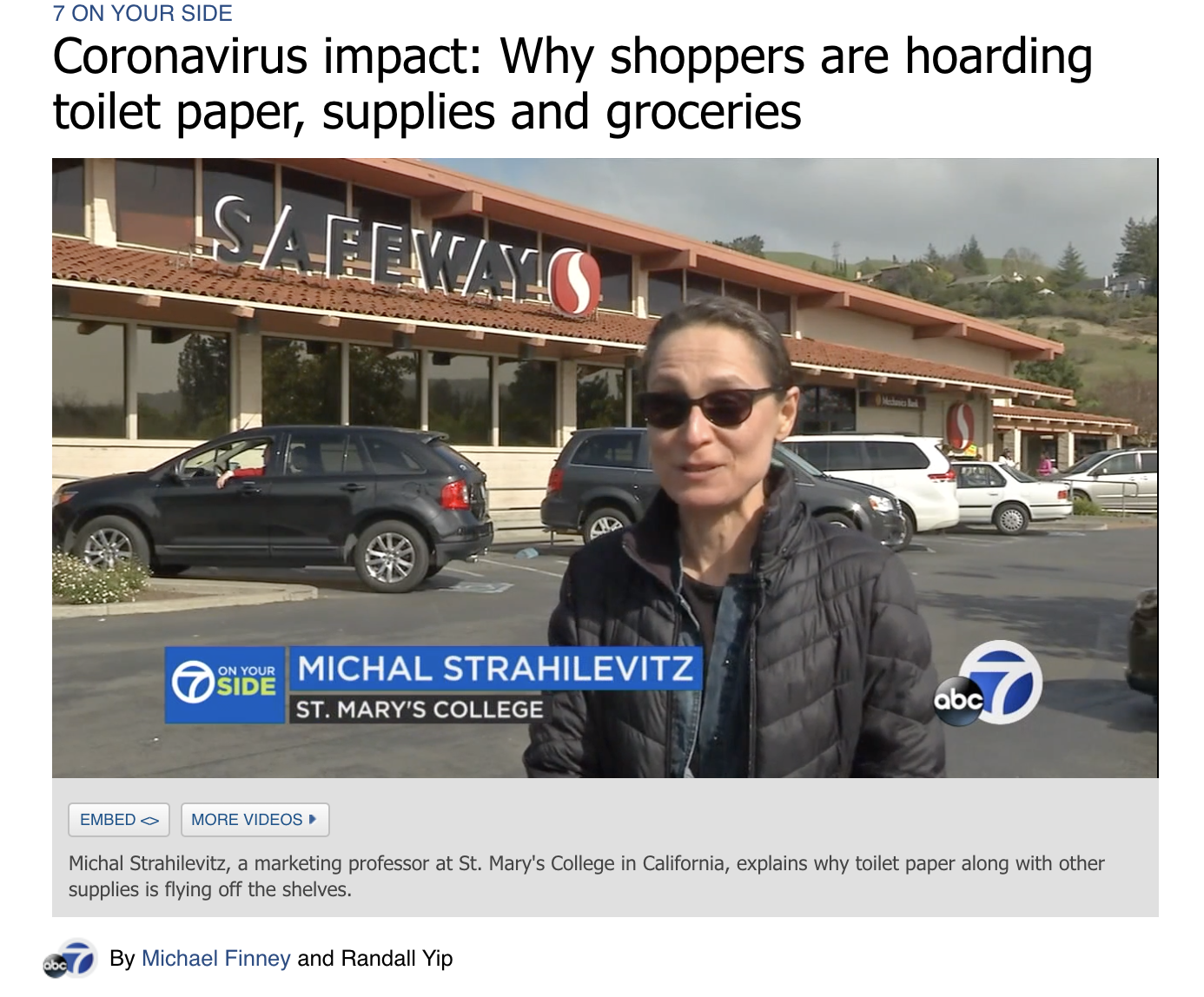 SEBA's Michal Strahilevitz on ABC7 News on March 18, 2020