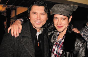 Jorge Diaz '06 (in cap), who has acted in movies including Paranormal Activity: The Marked Ones, with Lou Diamond Phillips. Diaz traced some of his initial inspiration to a Jan Term trip to the Sundance Film Festival.