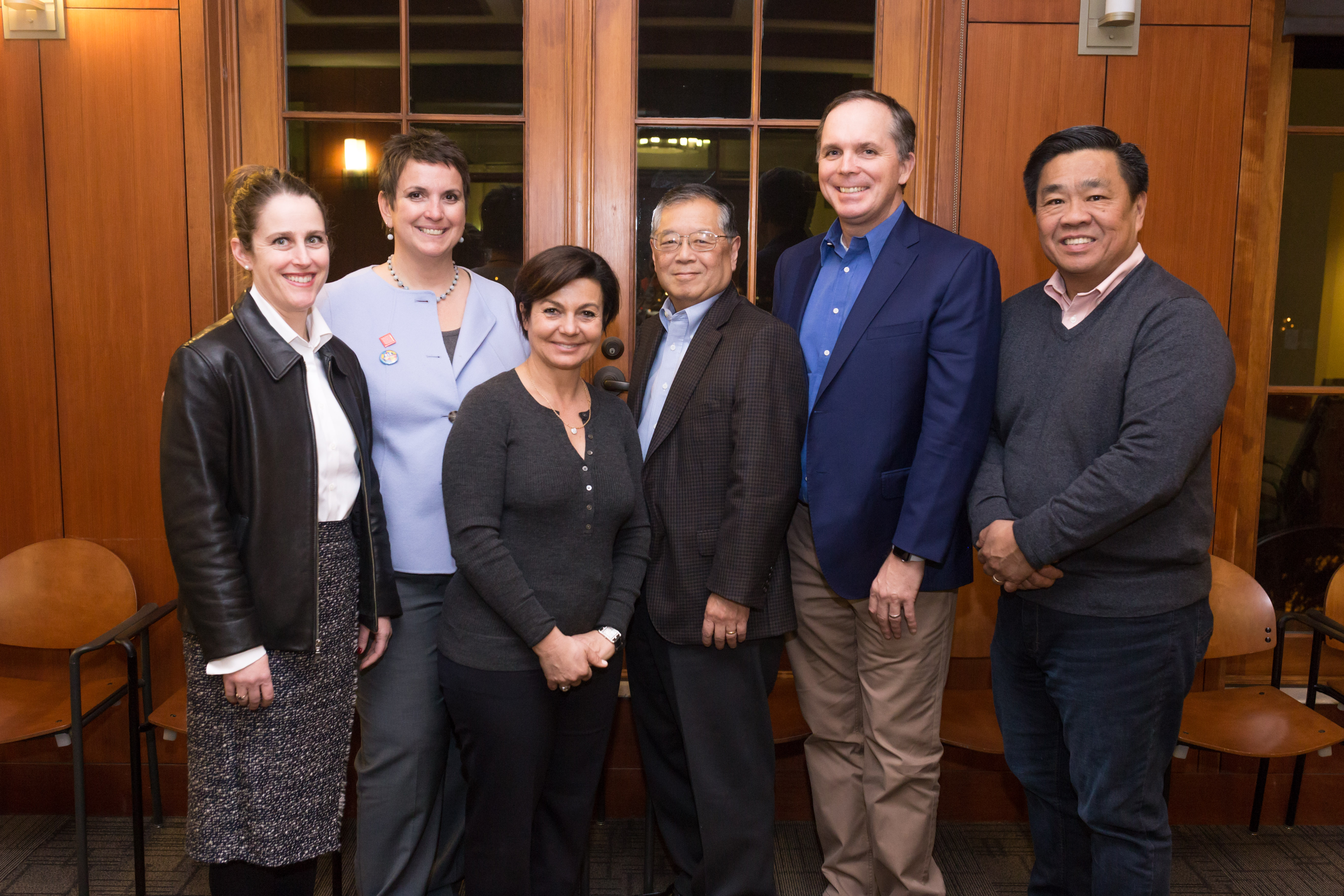 SMC's Heidi Stornetta-Butler (Advancement) and Dean Sheila Hassell Hughes gather with members of the SOLA Dean's Advisory Board: Christine Splichal, John Onoda, Jeff Leslie and Dickson Chu. Not pictured: Julie Berchtold, Wayne Billheimer.