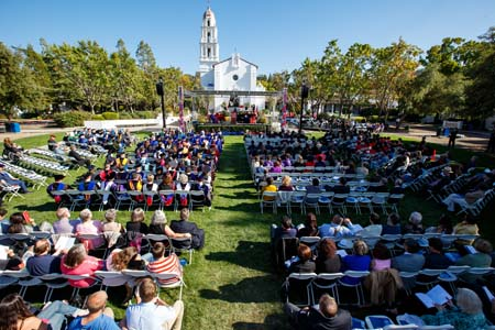 Hundreds of SMC community members, including alumni, parents, friends and dignitaries, attended the inauguration ceremony on the Chapel Lawn.