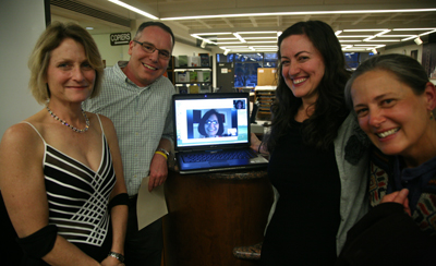 Provost Beth Dobkin with (left to right) Keith Garrison, Rebecca Carroll (who attended via Skype), Cynthia Ganote and Gretchen Lemke-Santangelo.