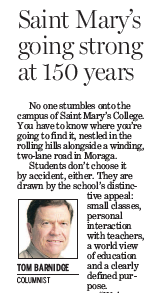 Bay Area News Group Columnist Tom Barnidge focuses on SMC's 150th.