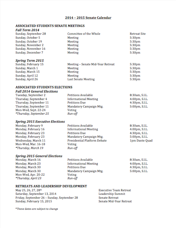 Senate Calendar for the 2014-2015 Academic Year consisting of meeting dates, retreats, and important election dates.