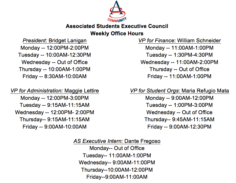 Here are the office hours of the Executive Team!
