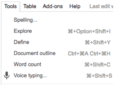 Voice Typinging Google Docs