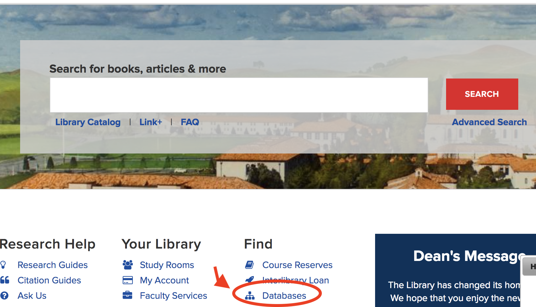 Databases link on library homepage