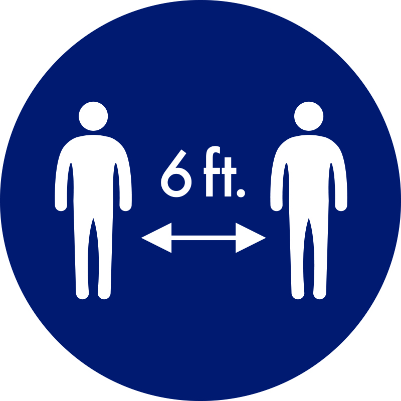 Graphic showing 6ft distance between people