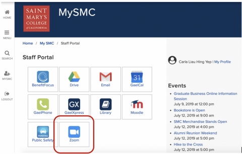 screen shot of Mysmc page