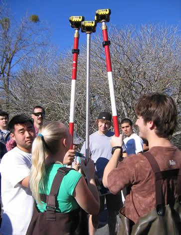 College students synchronizing the GPS units before creek sampling begins in 2009.  (photo by M.Luebke)
