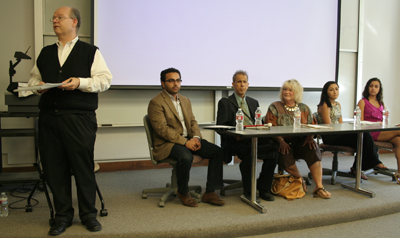 Panelists included (left to right) Brother Charles Hilken, Mostafa Wassel, Hisham Ahmed, Mindy Thomas, Aya Fawzy and Evelyn Minaise.