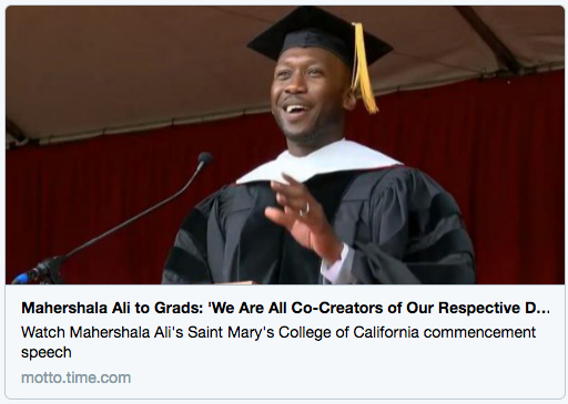 TIME-MOTTO image of actor and SMC alum Mahershala Ali '96 giving commencement address at the 2016 graduation ceremony.
