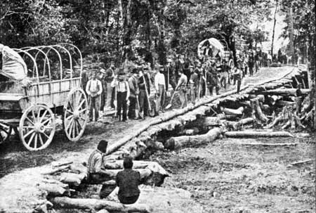 Union troops repair a bridge across the Chickahominy River