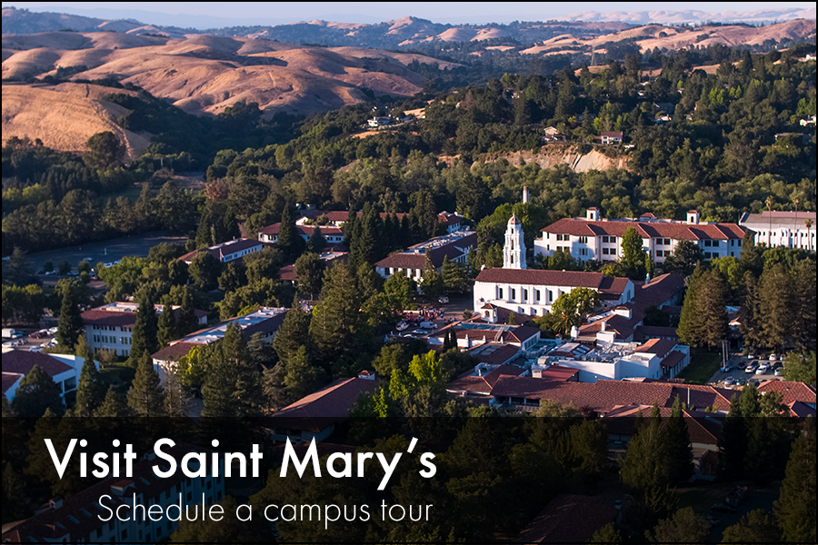 Beautiful view of Saint Marys Campus with green hills. Underneath the photo reads: Visit Saint Mary's, Schedule a campus tour